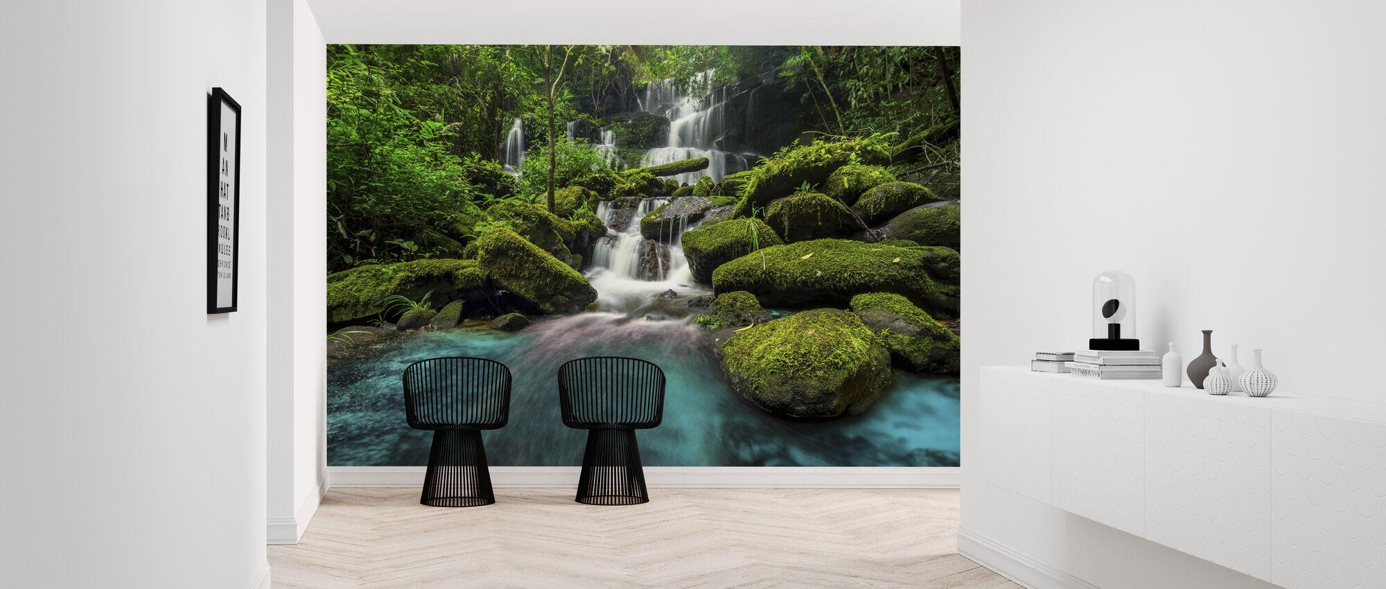 Waterfall in Green Forest - Wallpaper - Hallway