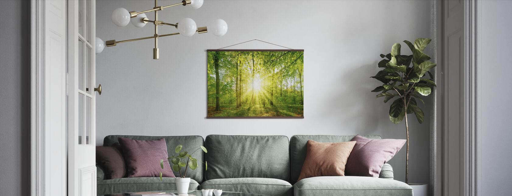 Sonnenlicht im Wald - Poster - Wohnzimmer