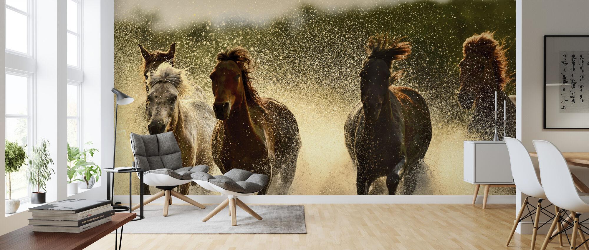 Horses in River - Wallpaper - Living Room