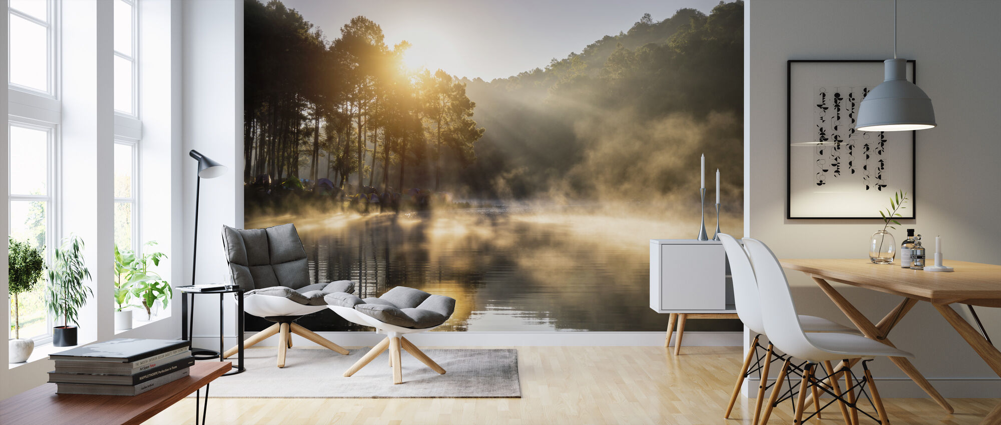 Camping in the Pine Forest - Wallpaper - Living Room