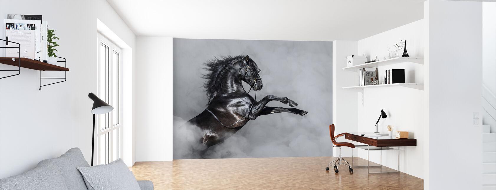 Horse Rearing in Smoke - Wallpaper - Office
