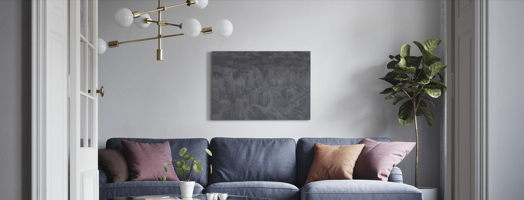 Oriental Concrete - Dark - Canvas print - Living Room