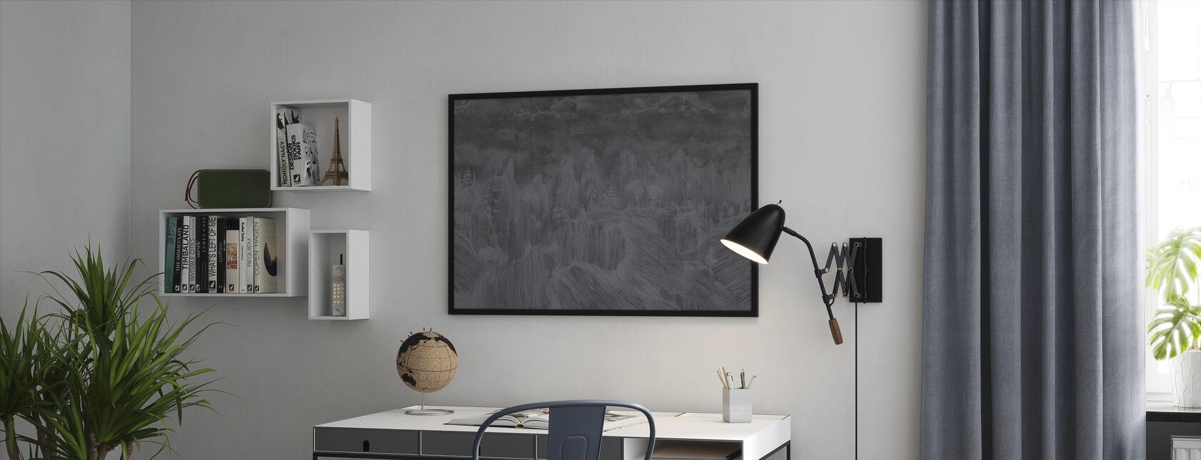 Oriental Concrete - Dark - Framed print - Office