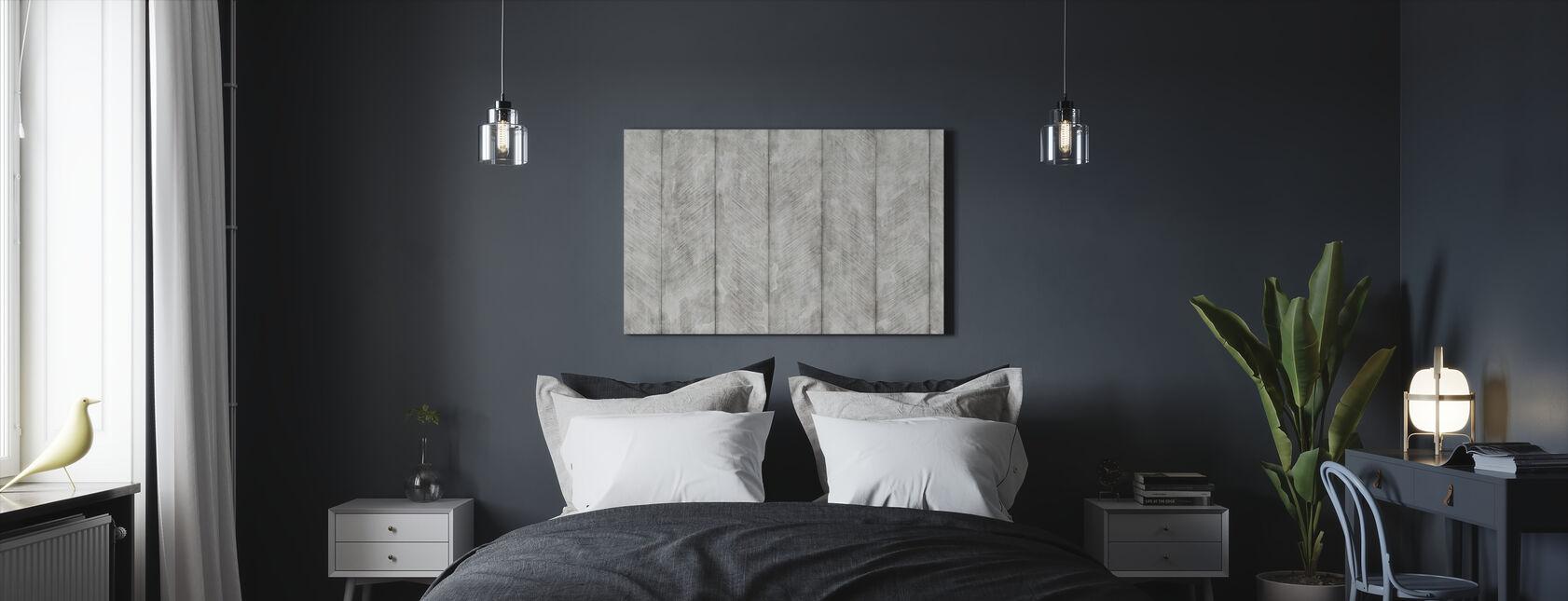 Betonnen muur - Fishbone - Canvas print - Slaapkamer