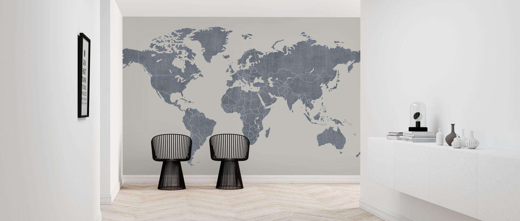 Voguish World Map - Blue - Wallpaper - Hallway