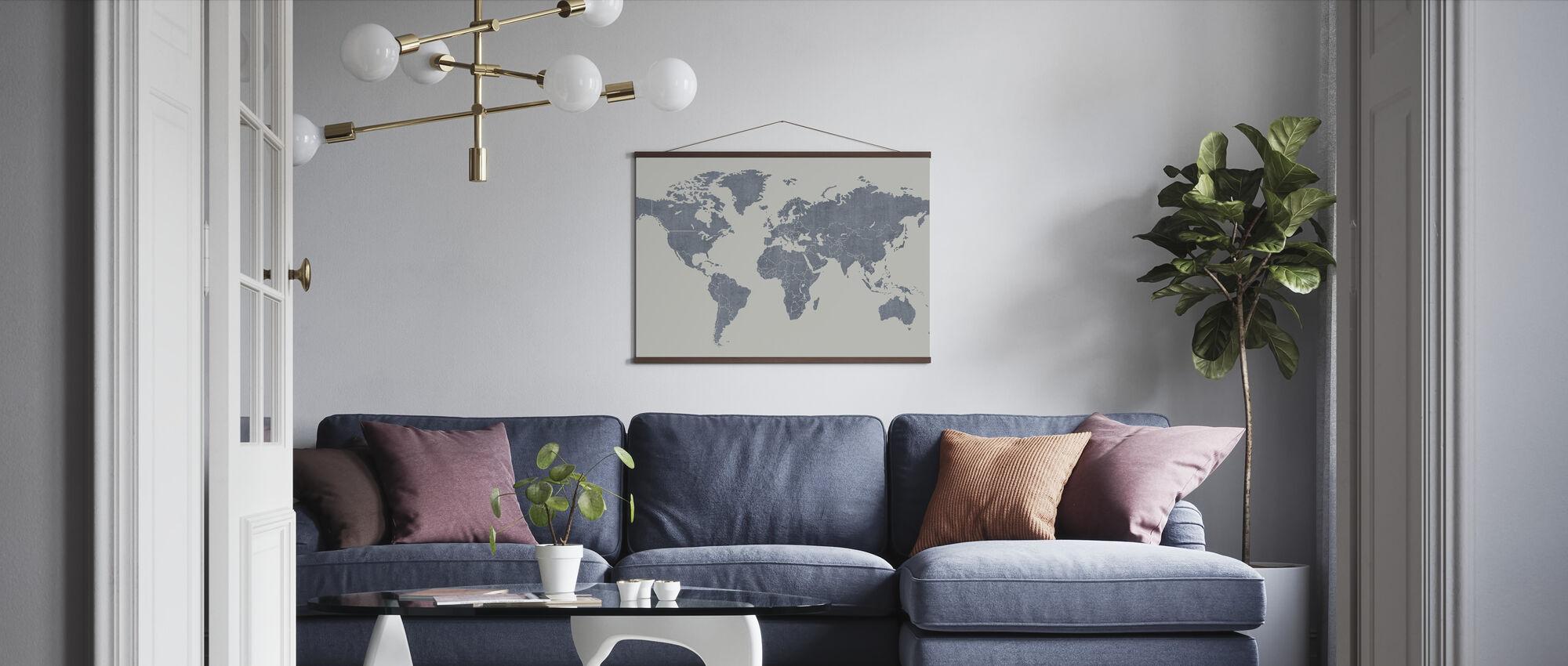 Voguish World Map - Blå - Plakat - Stue