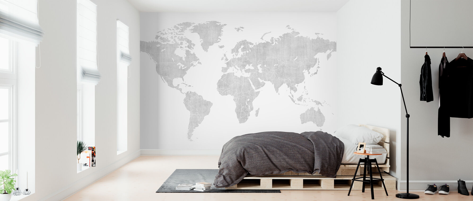 Voguish World Kartta - Kirkas - Tapetti - Makuuhuone