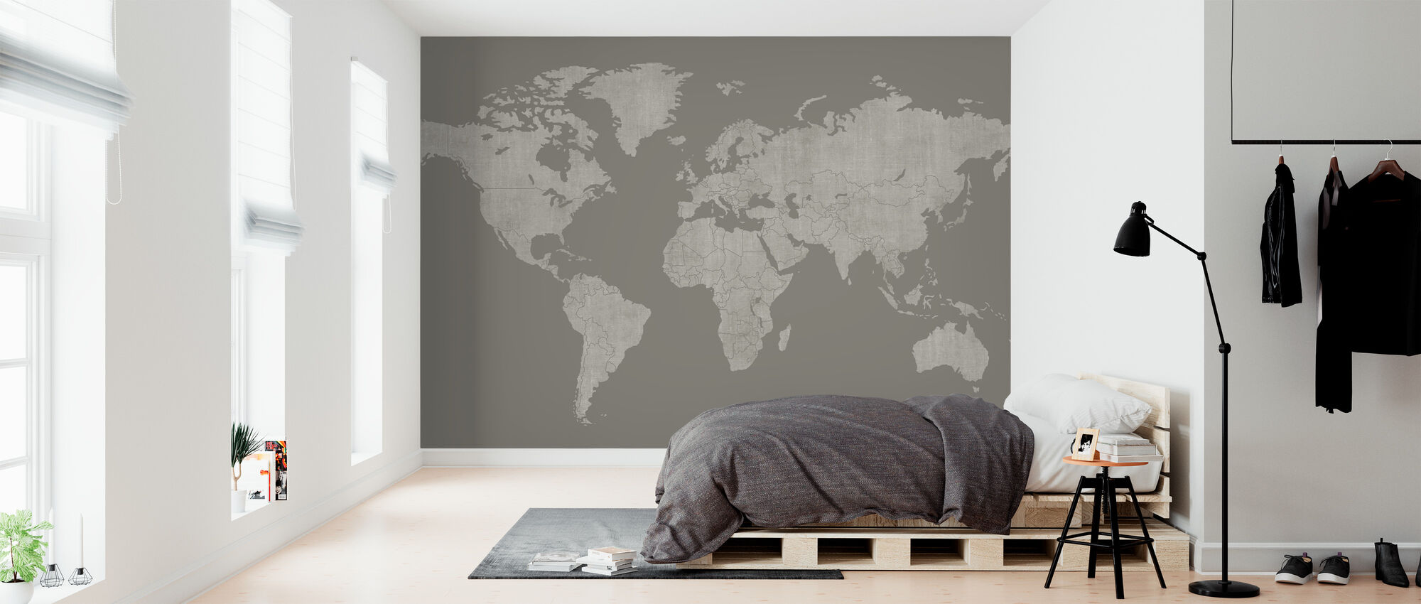 Voguish World Map - Brown Gray - Wallpaper - Bedroom