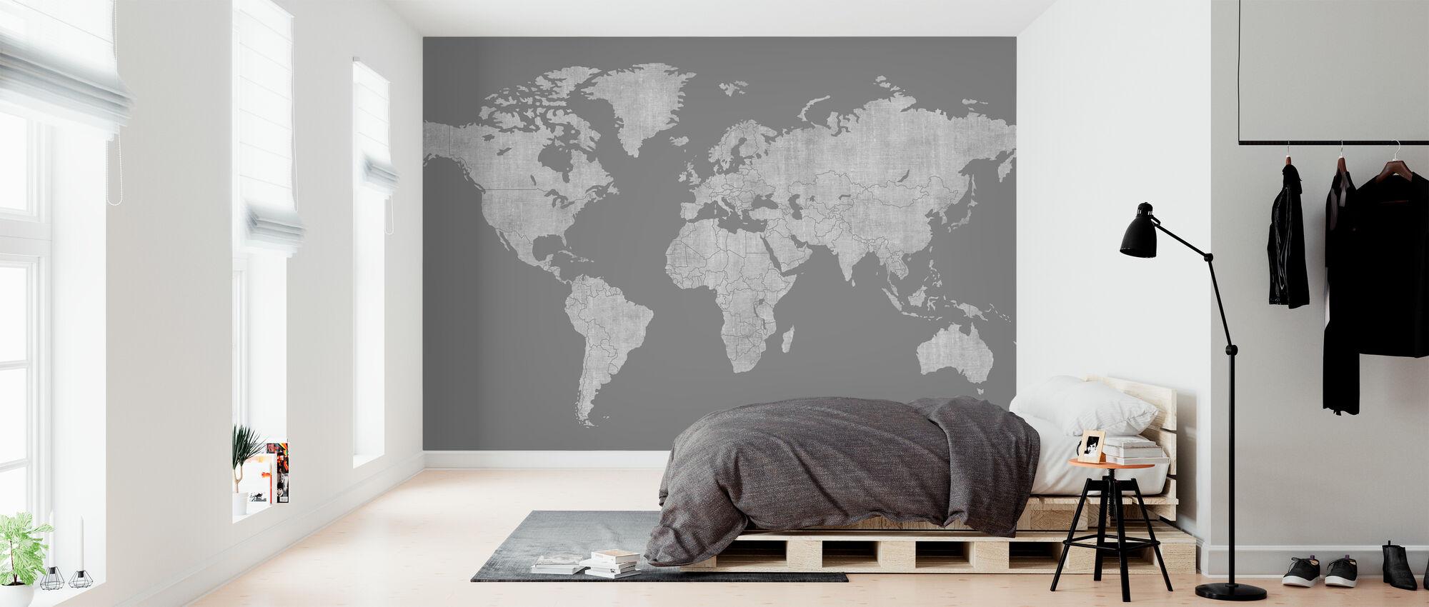 Voguish World Kartta - Tummanharmaa - Tapetti - Makuuhuone