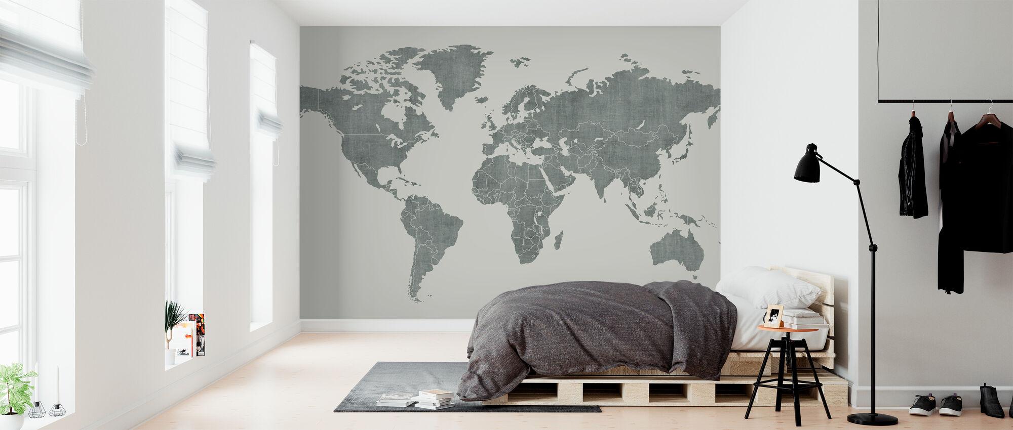 Voguish World Map - Green - Wallpaper - Bedroom