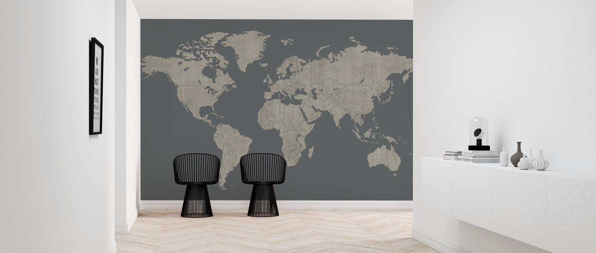 Voguish World Map - Green Gray - Wallpaper - Hallway