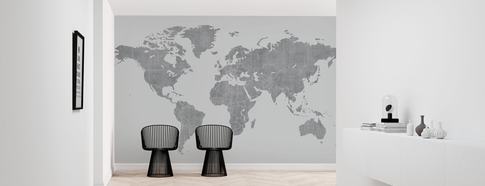 Voguish World Karta - Ljusgrå - Tapet - Hall
