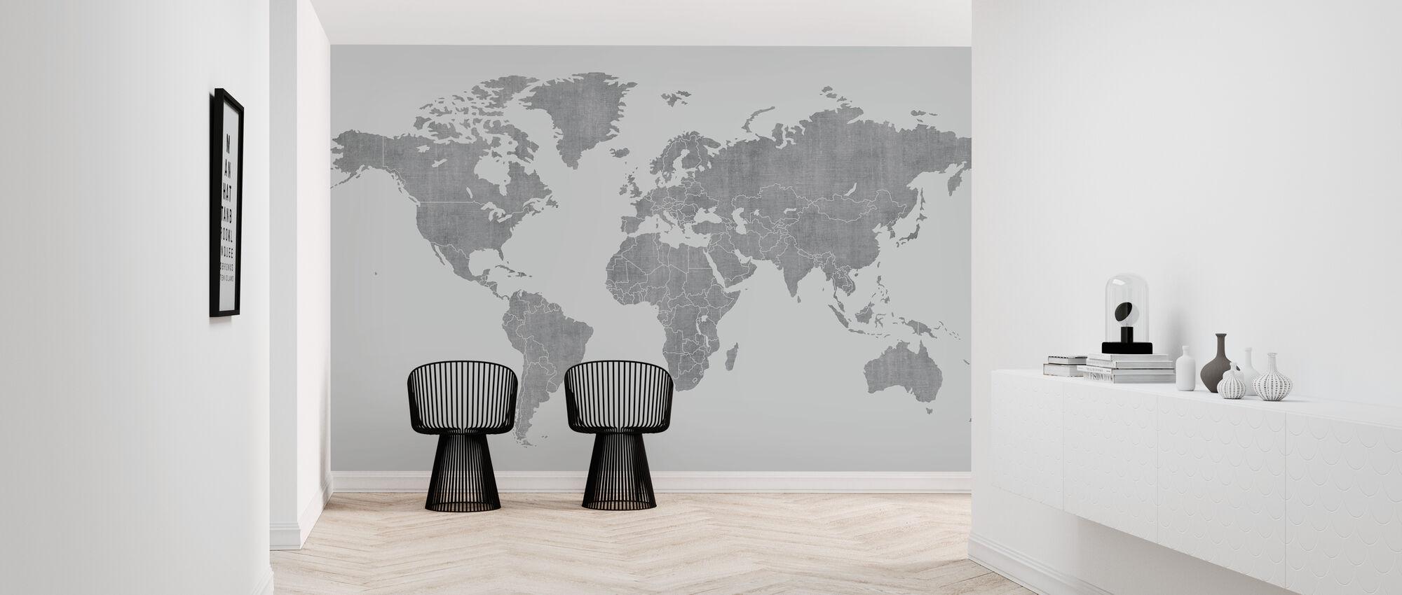 Voguish World Map - Light Gray - Wallpaper - Hallway