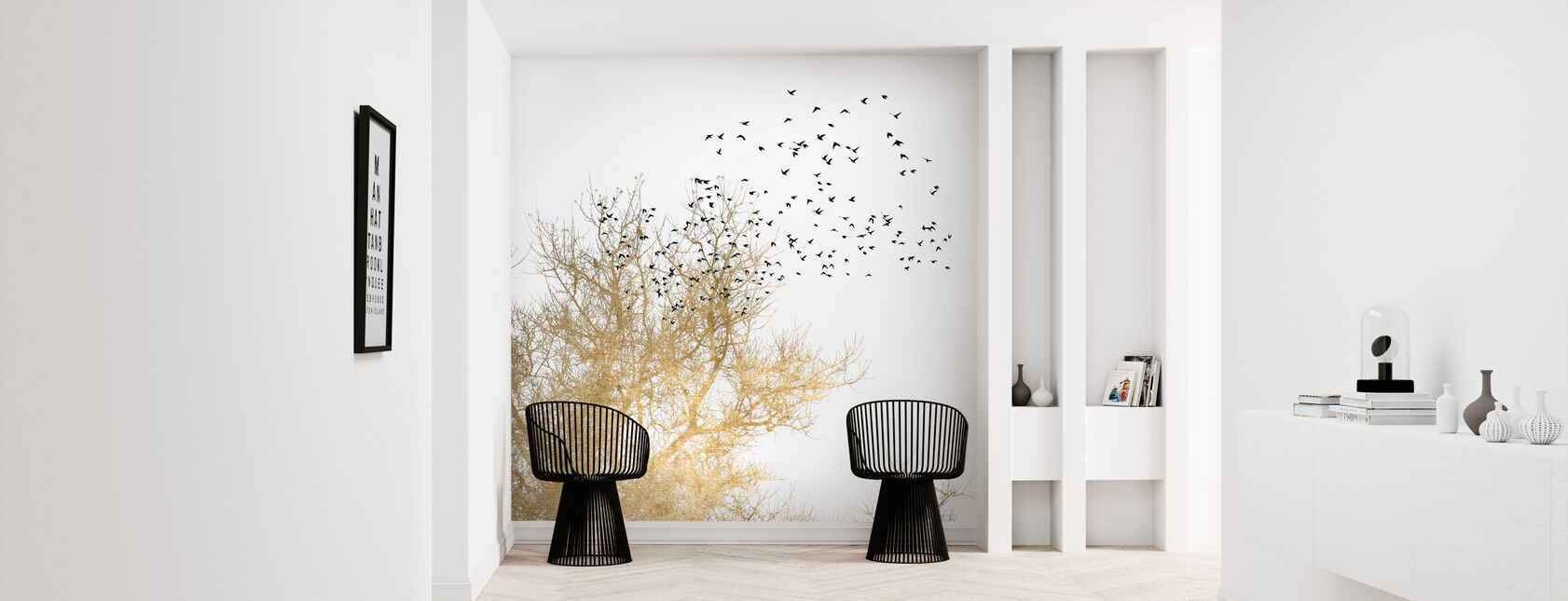 Gouden Vogels - Behang - Gang