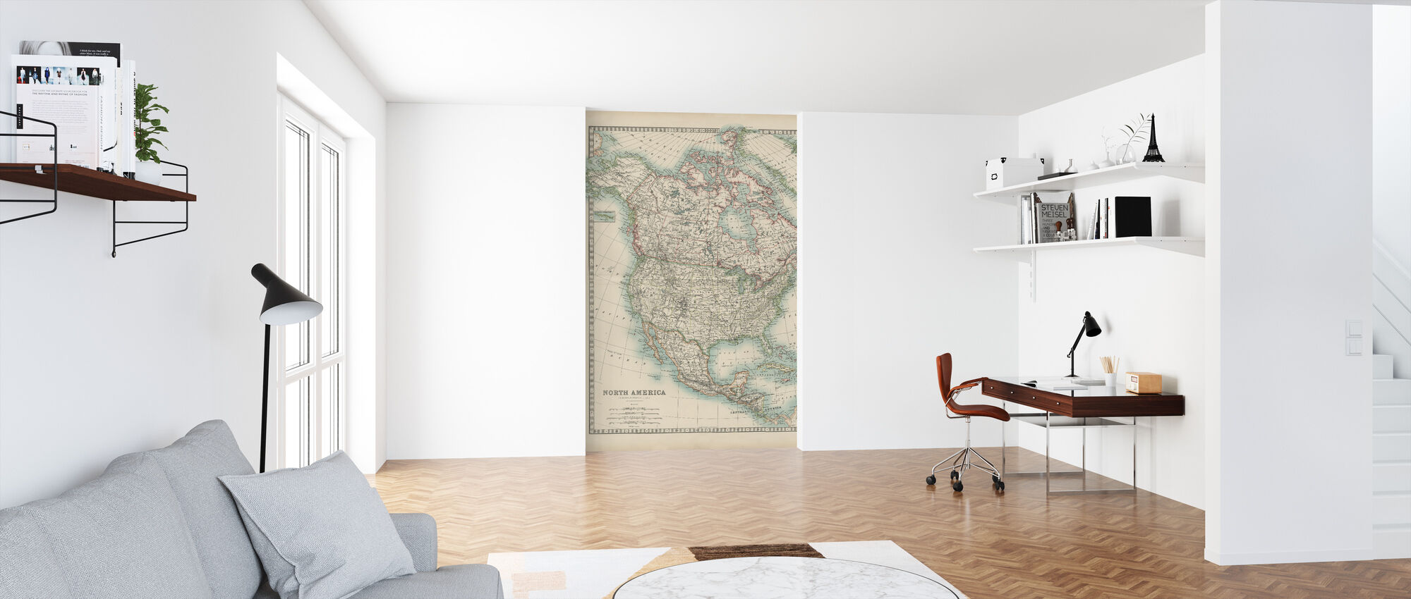 Johnstons Map of North America - Wallpaper - Office