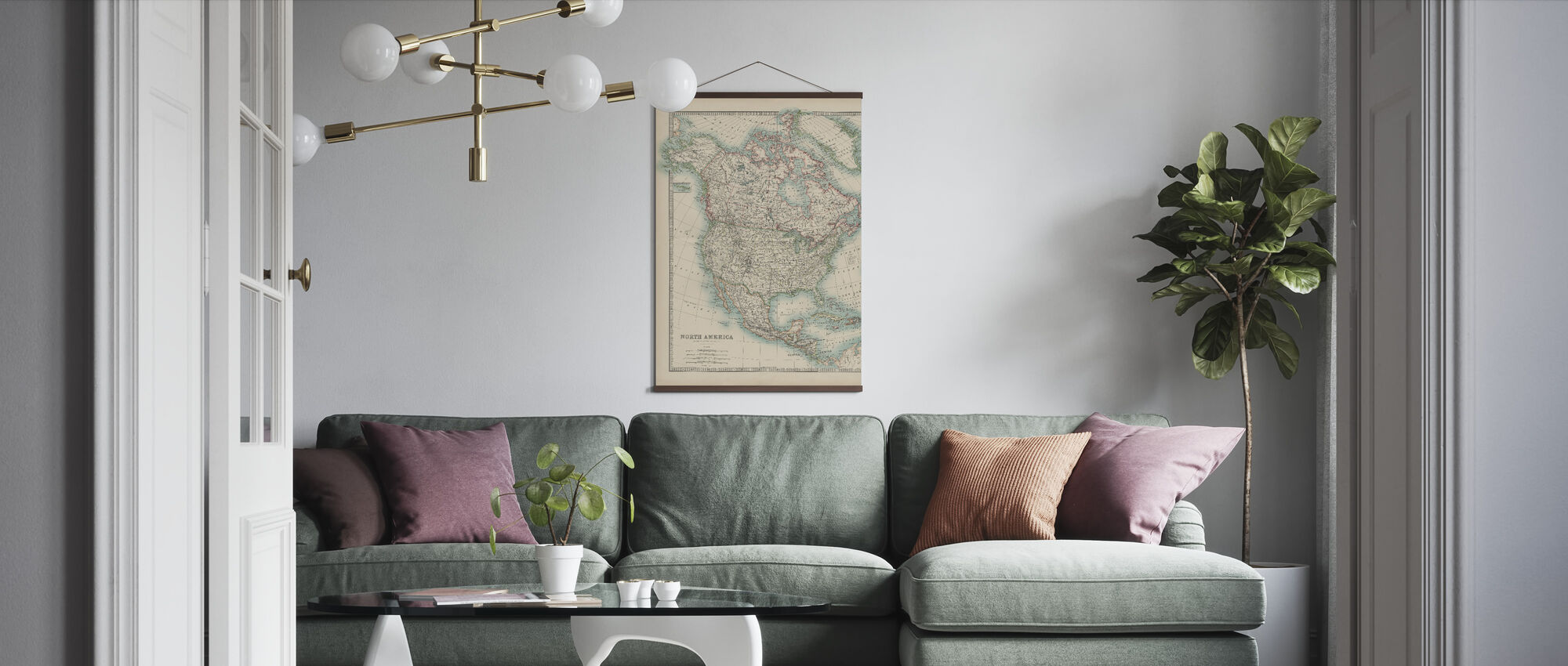 Johnstons Map of North America - Poster - Living Room
