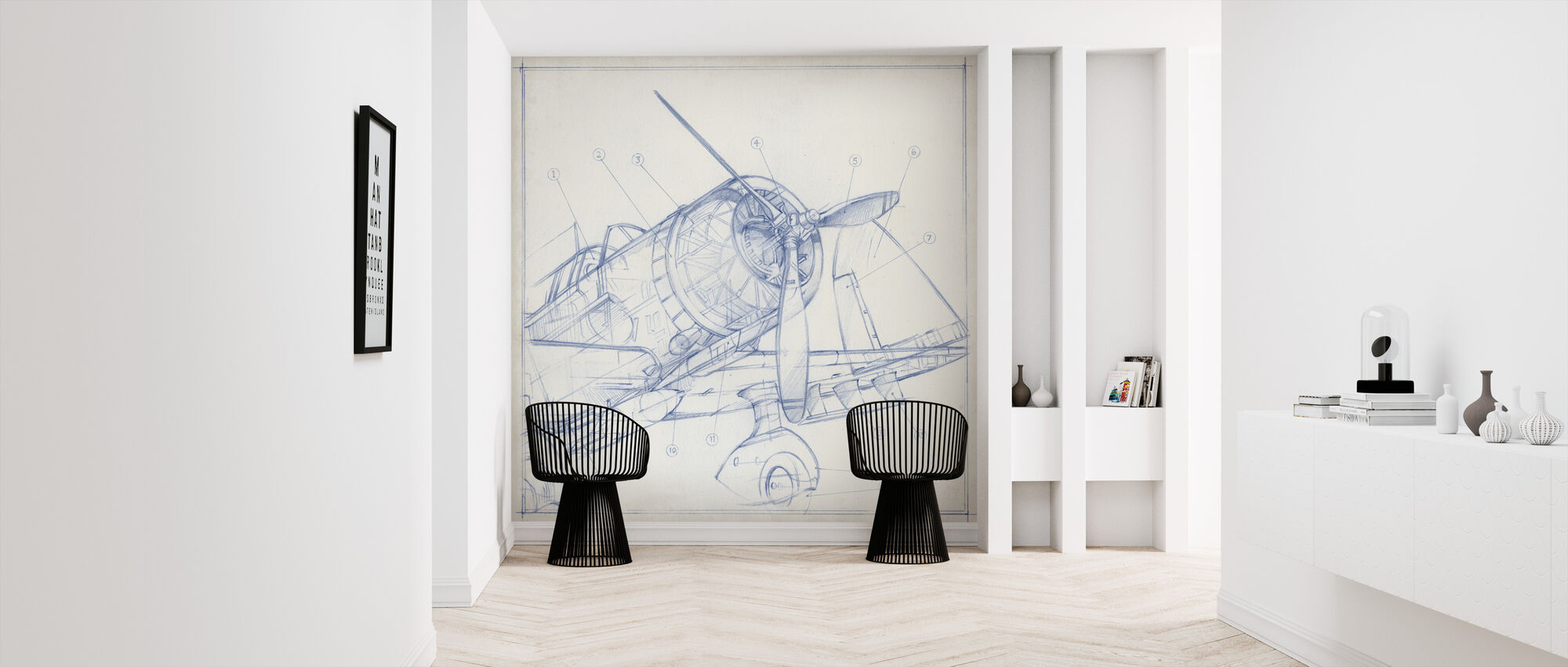Airplane Mechanical Sketch - Wallpaper - Hallway
