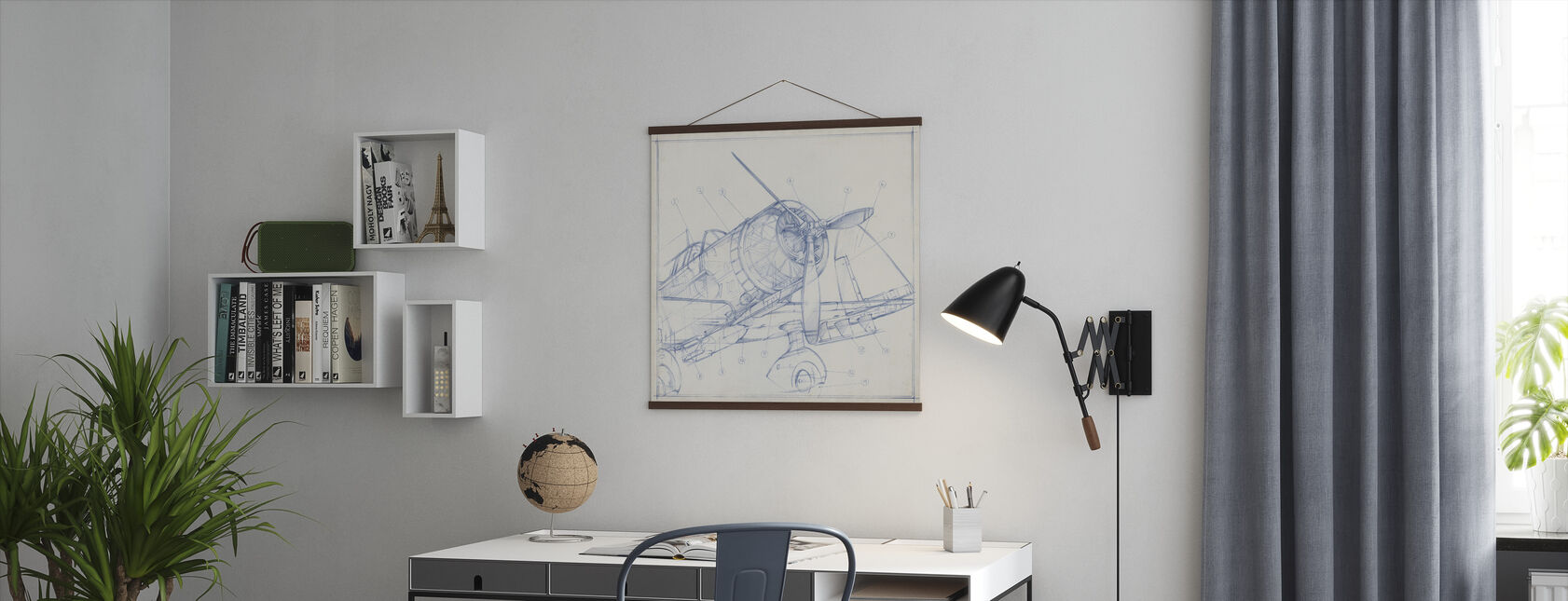 Airplane Mechanical Sketch - Poster - Office