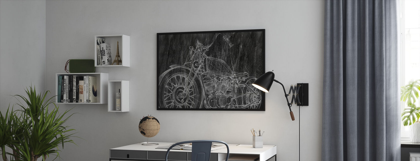 Motorcycle Sketch - Framed print - Office