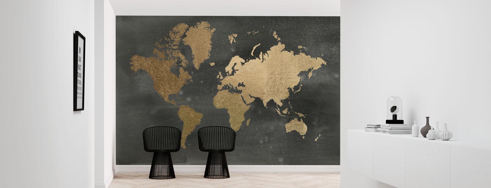 Wereldkaart op Black Wash - Behang - Gang