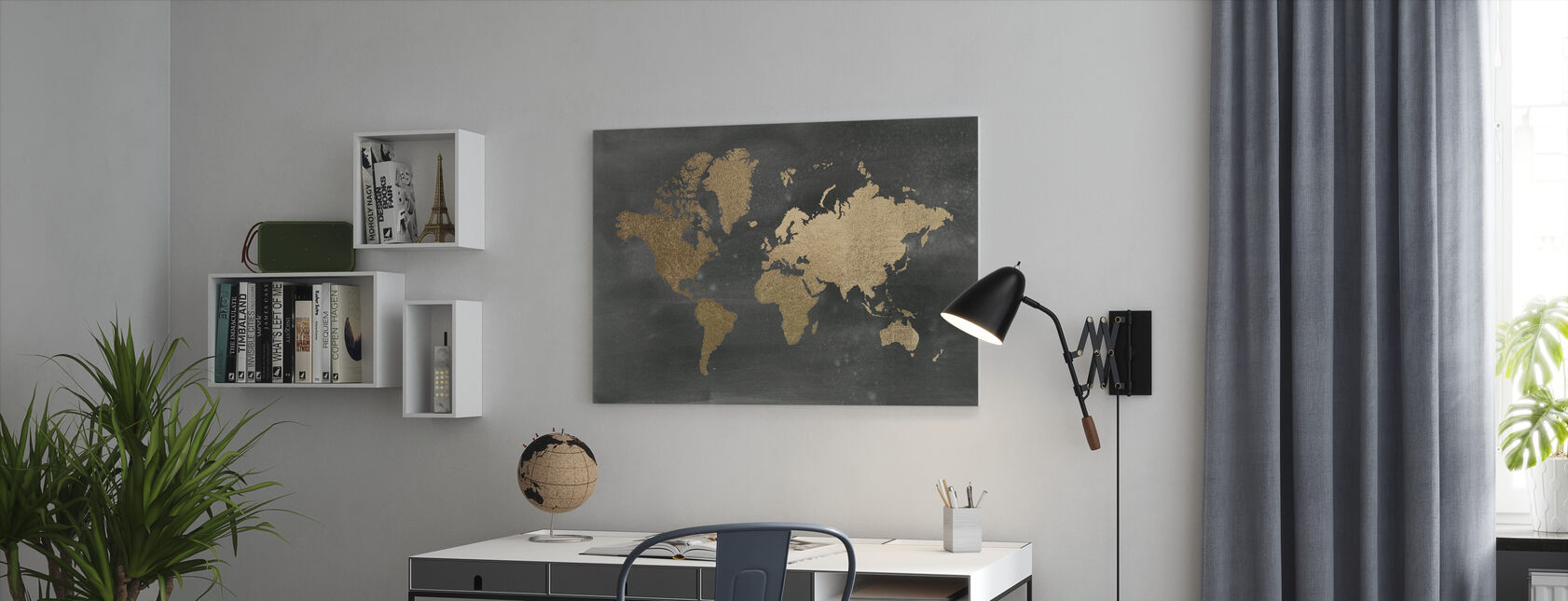 World Map on Black Wash - Canvas print - Office
