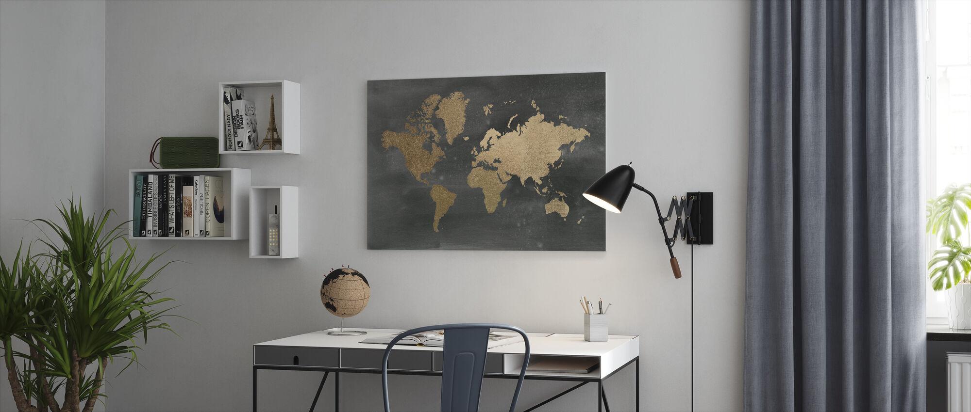 World Map on Black Wash - Canvas print - Office