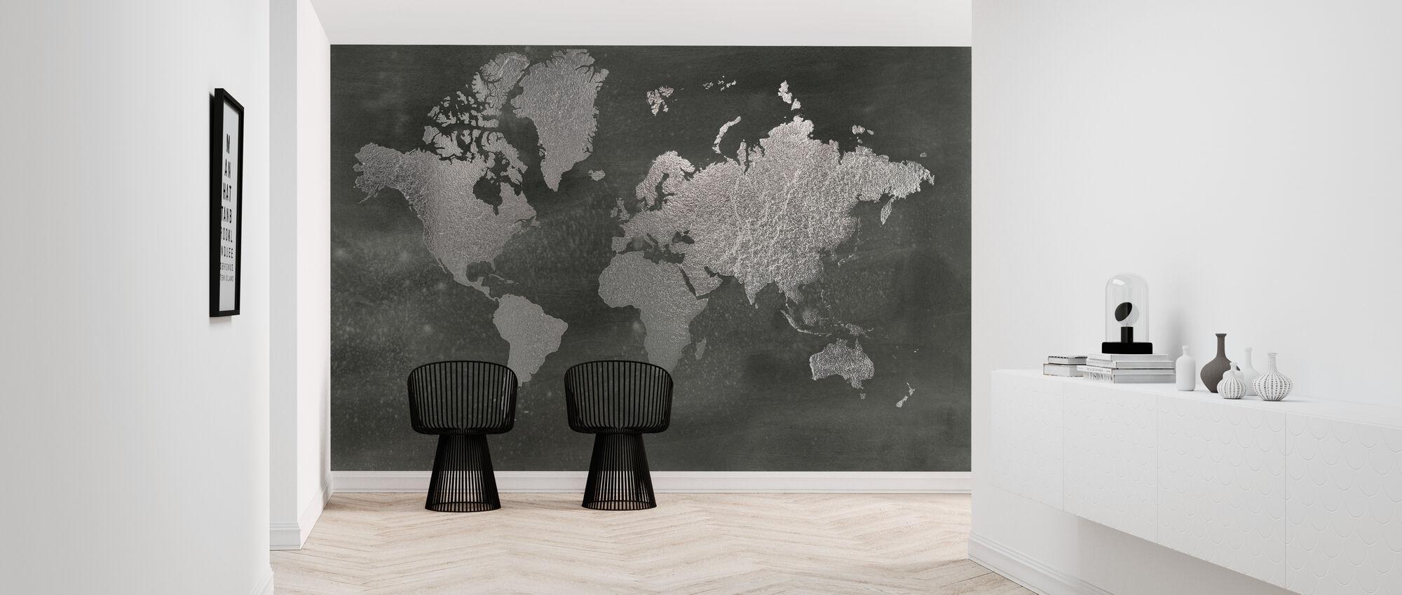 World Map on Black Wash - Wallpaper - Hallway
