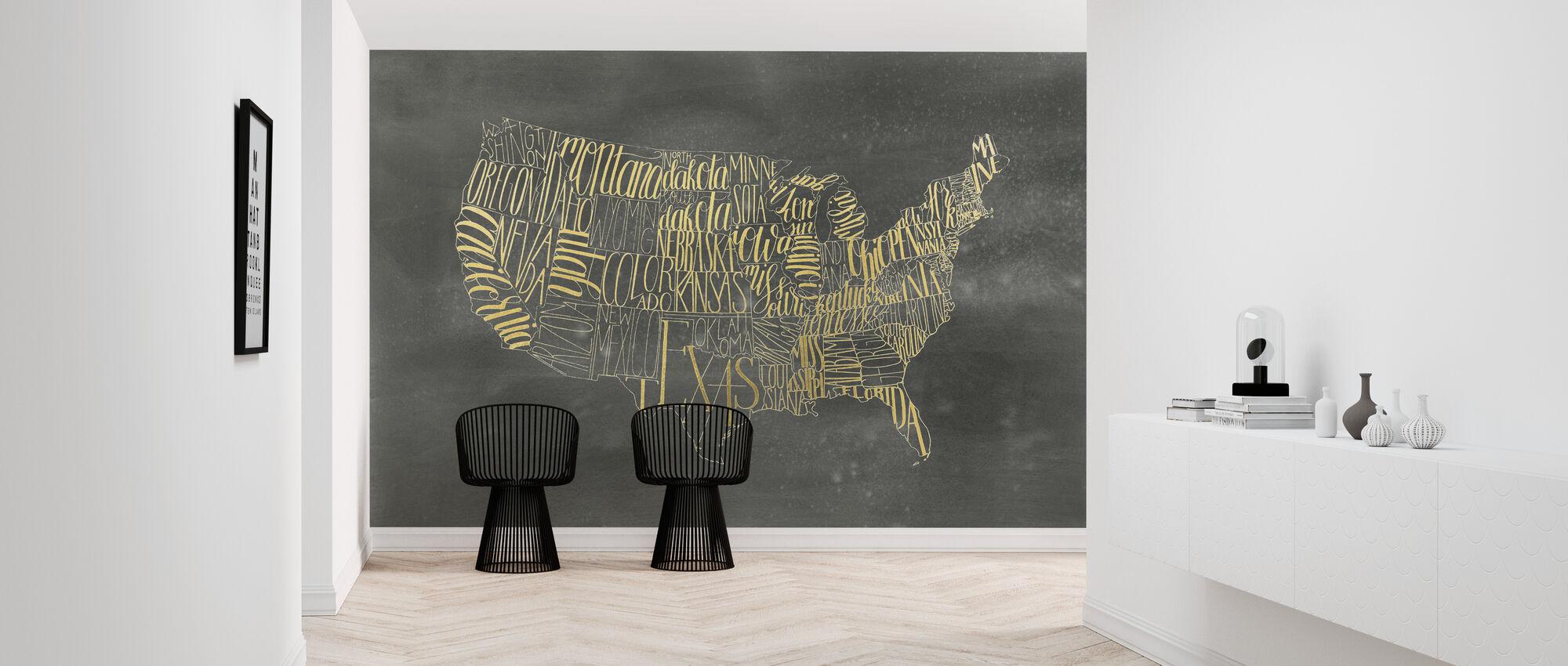 USA Kort på Black Wash - Tapet - Gang