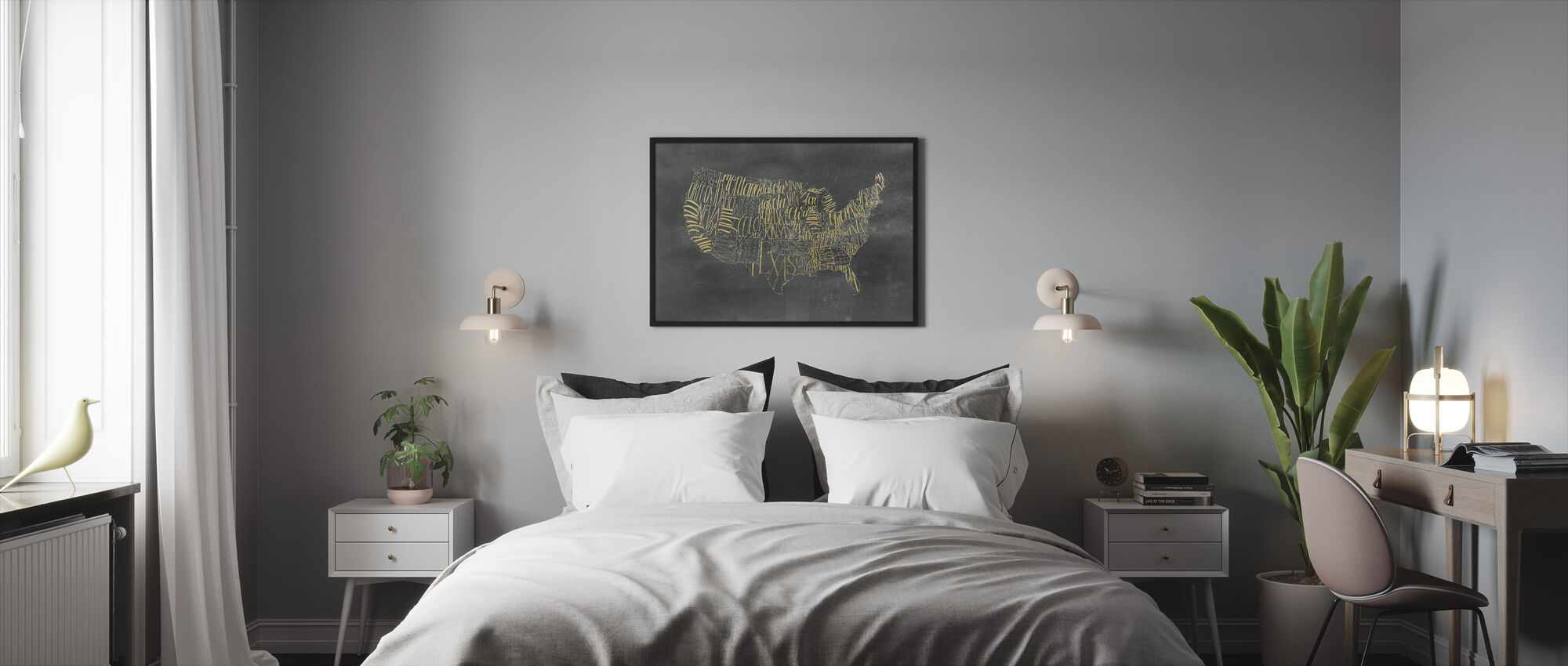 USA Map on Black Wash - Framed print - Bedroom