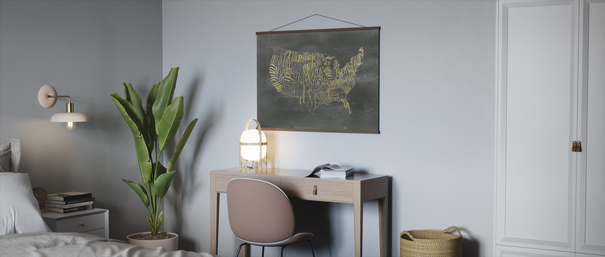 USA Map on Black Wash - Poster - Office