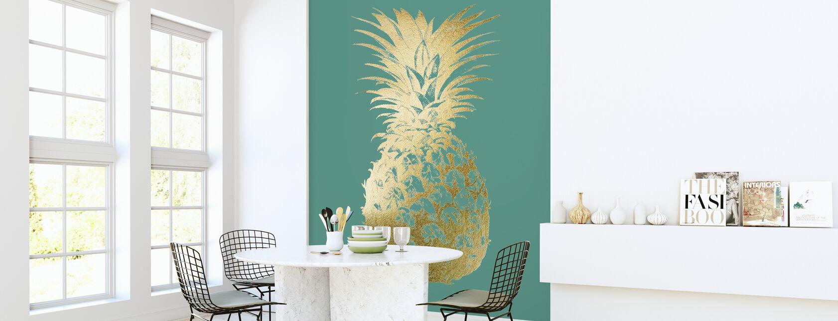 Ananas op smaragd - Behang - Keuken