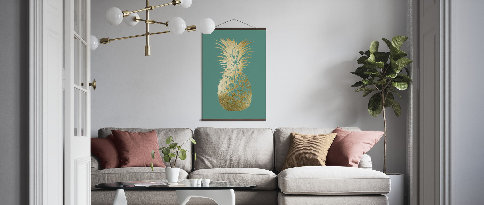 Ananas på Emerald - Poster - Vardagsrum