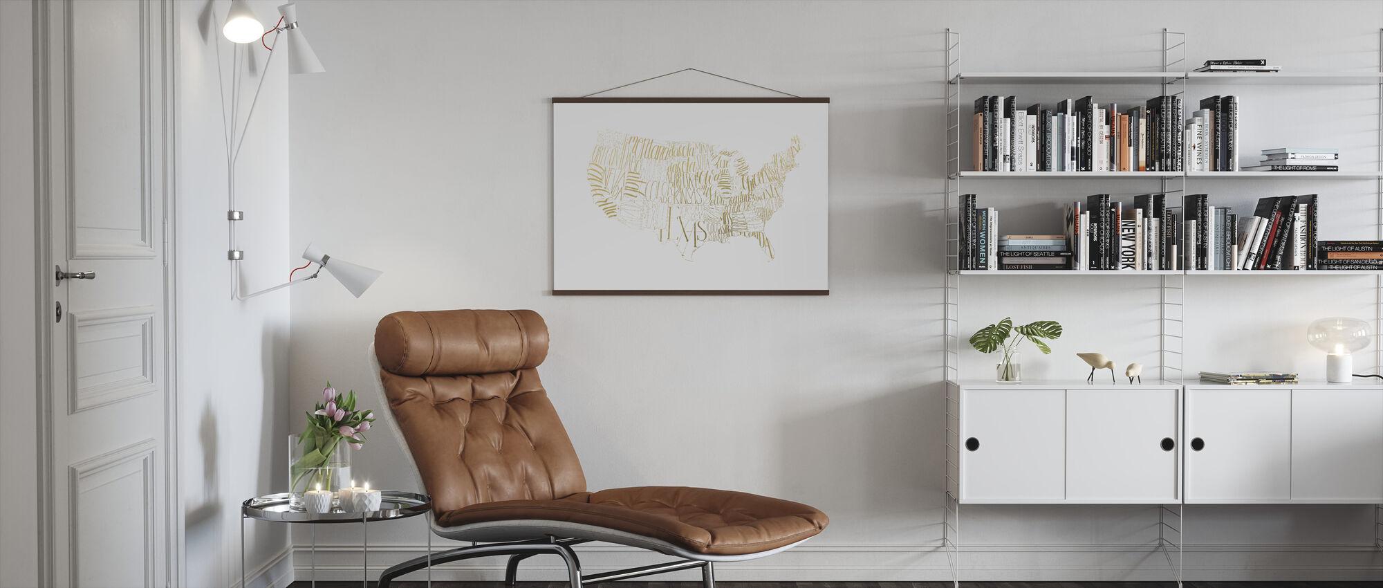 USA Map - Poster - Living Room