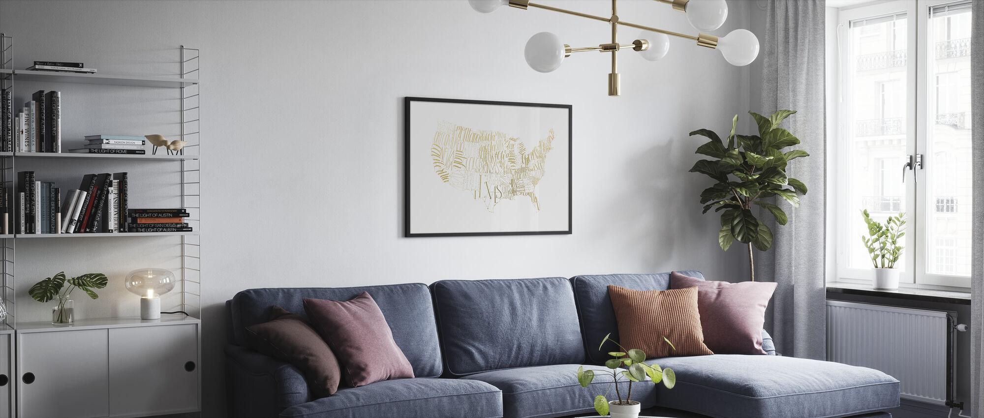 USA Map - Framed print - Living Room