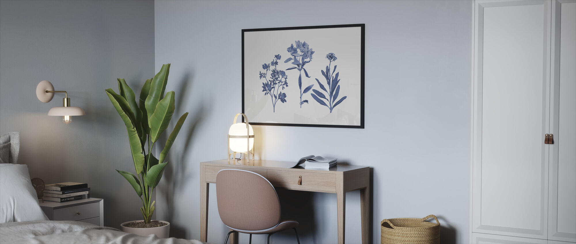 Indigo Pressed Florals - Framed print - Bedroom