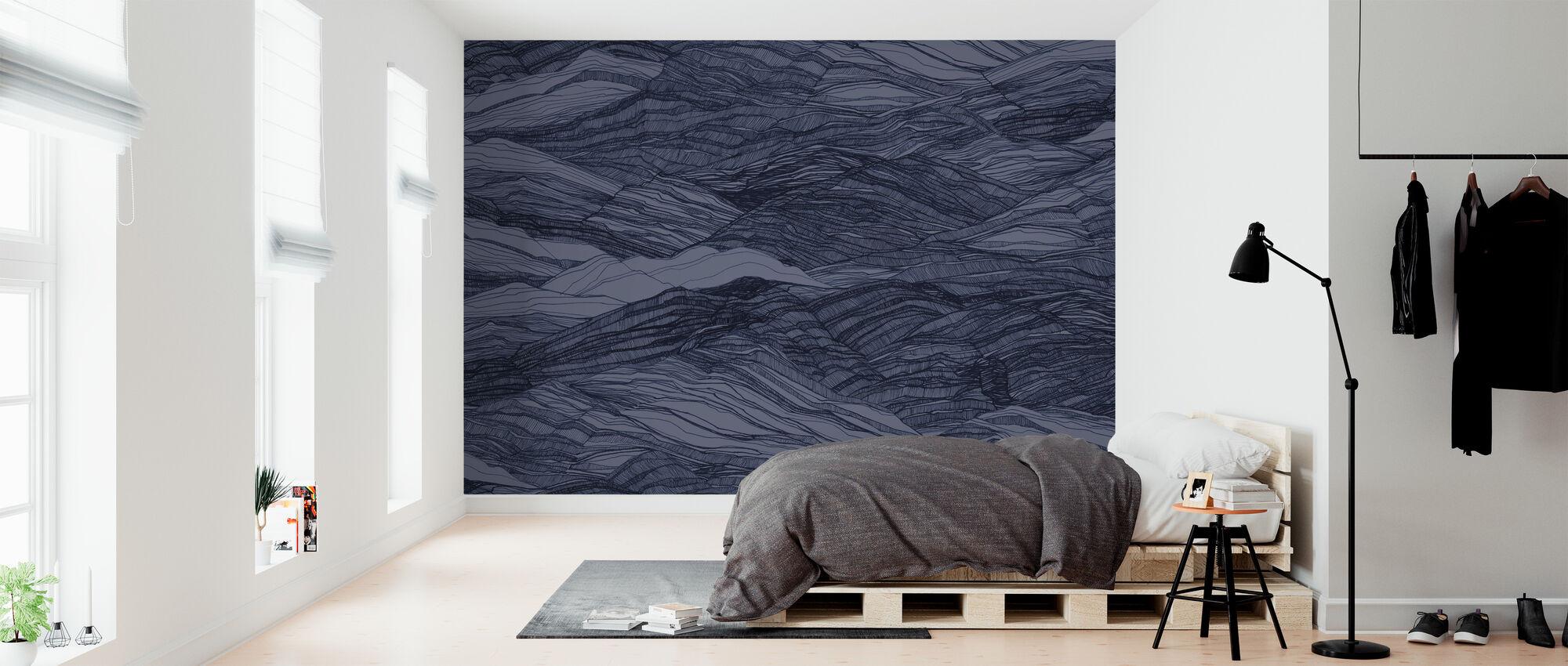 Duna Large - Deep Blue - Wallpaper - Bedroom