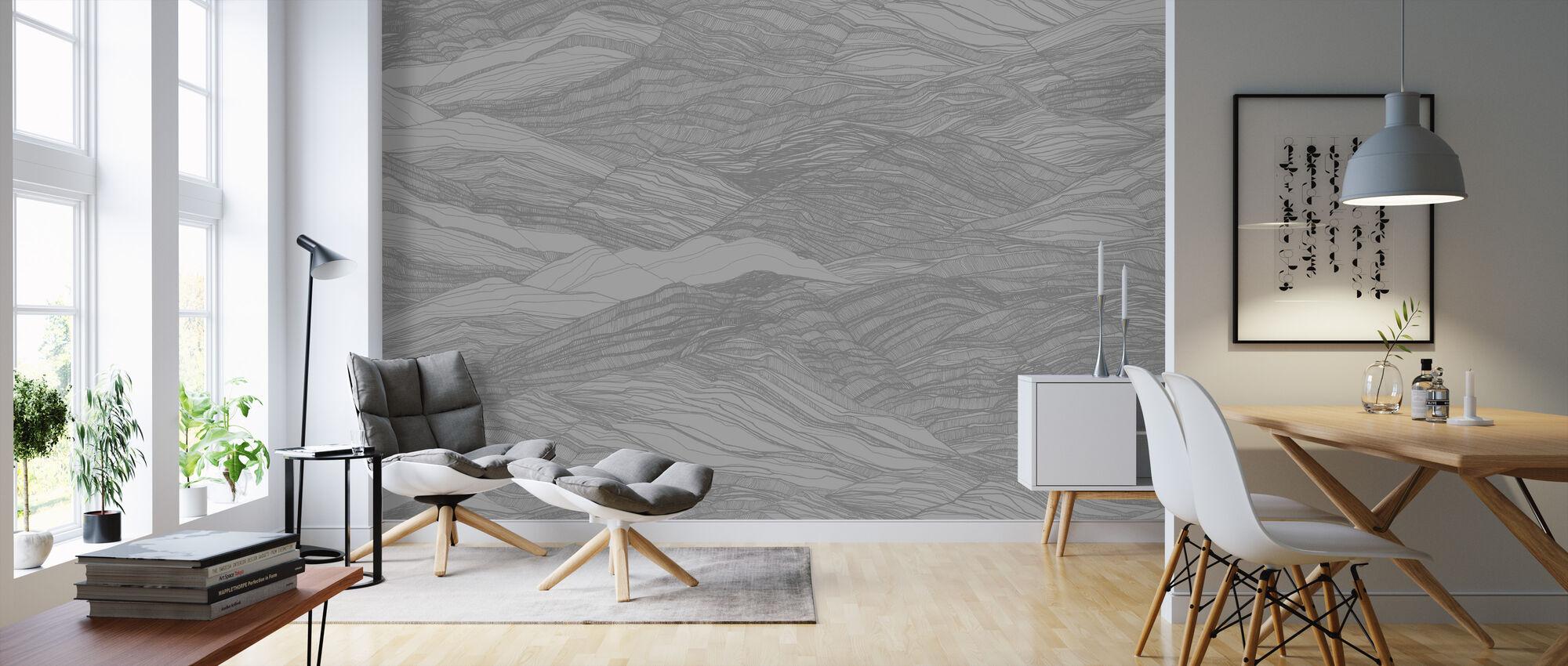 Duna Large - Light Grey - Wallpaper - Living Room