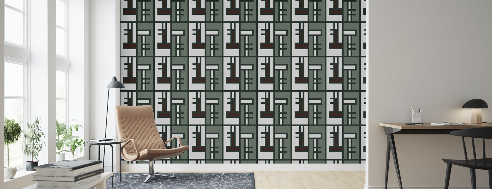 Grön tegelsten - Tapet - Vardagsrum