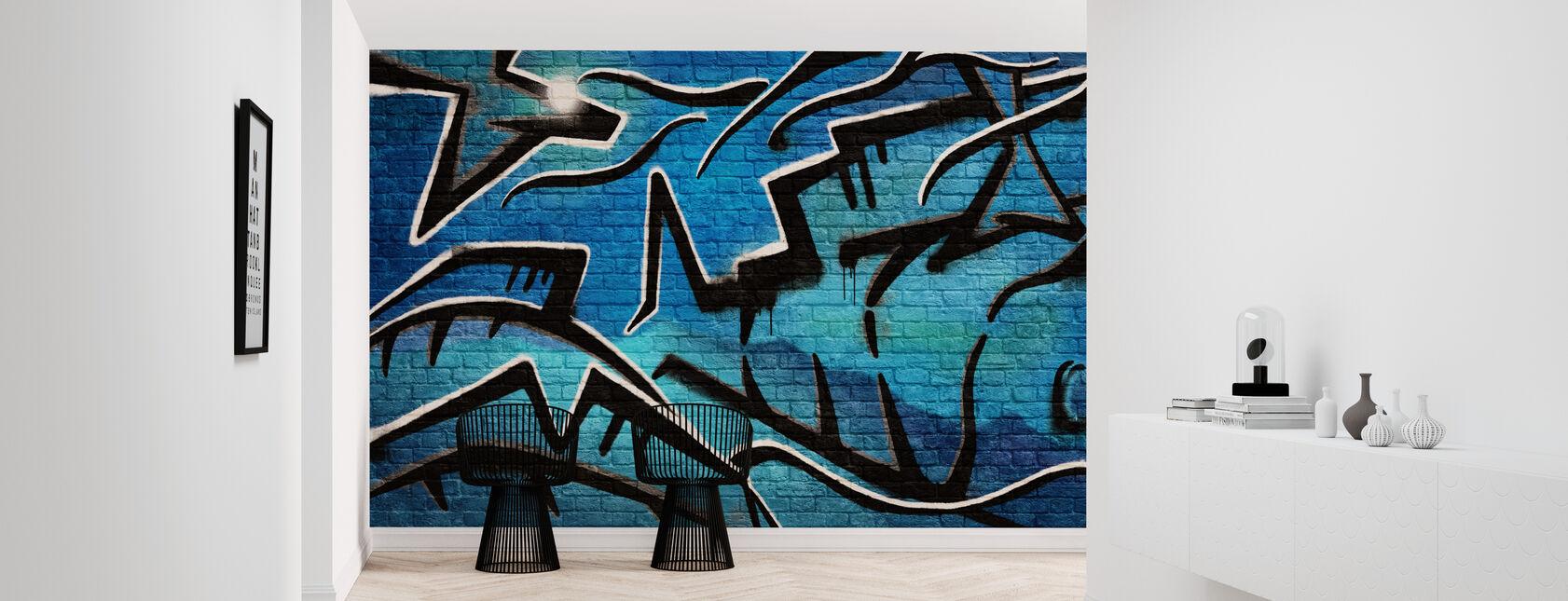 Tiiliseinä Graffiti - Sininen - Tapetti - Aula