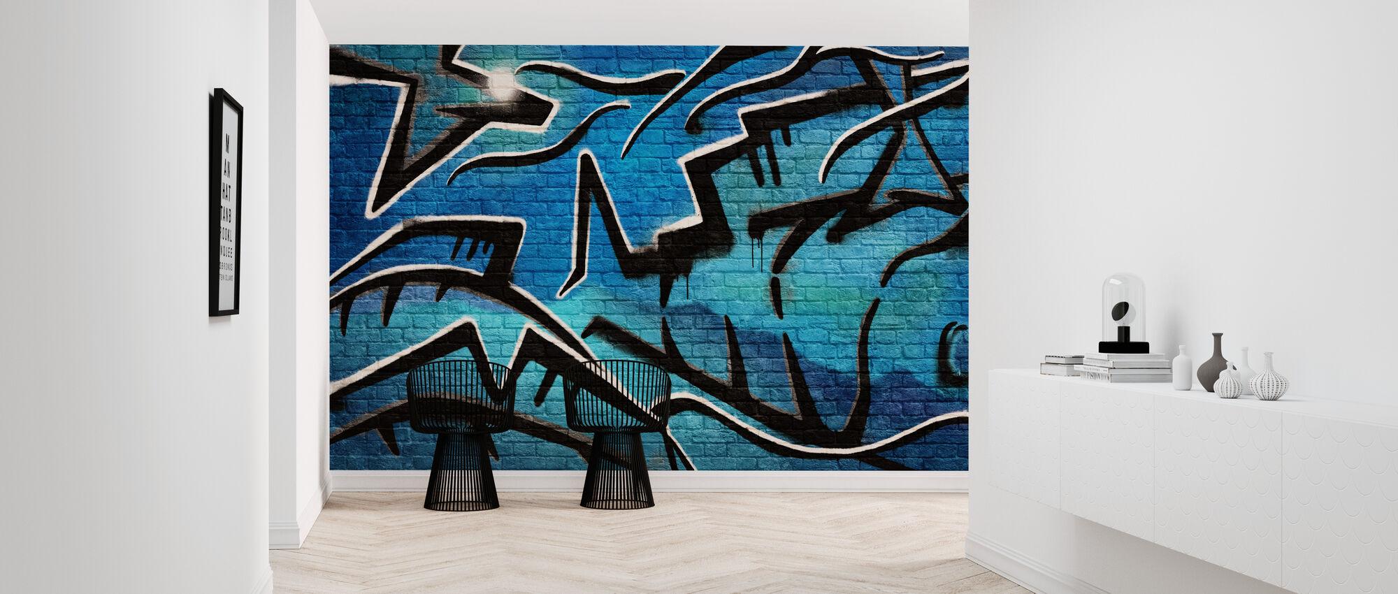 Brick Wall Graffiti - Blue - Wallpaper - Hallway