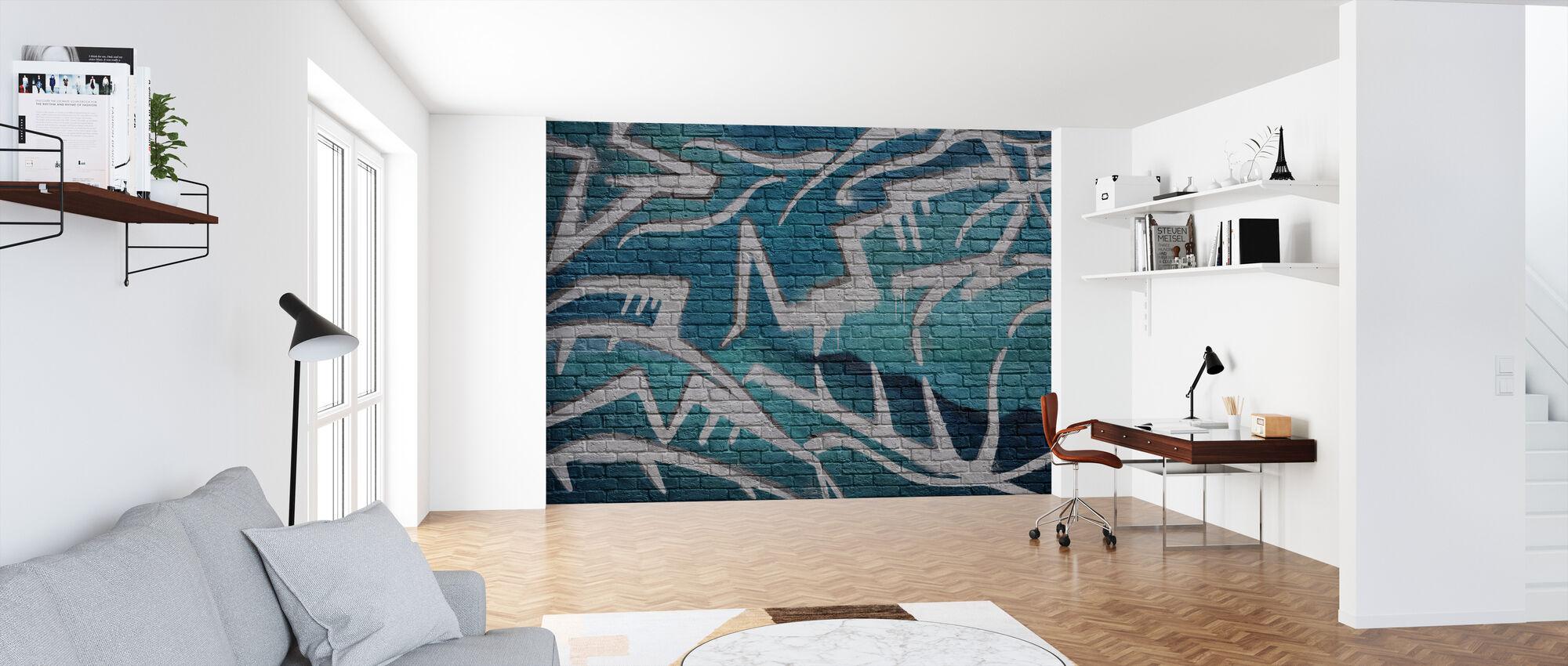 Brick Wall Graffiti - Turquoise - Wallpaper - Office