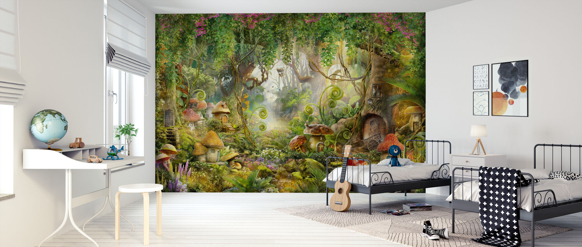 Mushroom Dorp - Behang - Kinderkamer