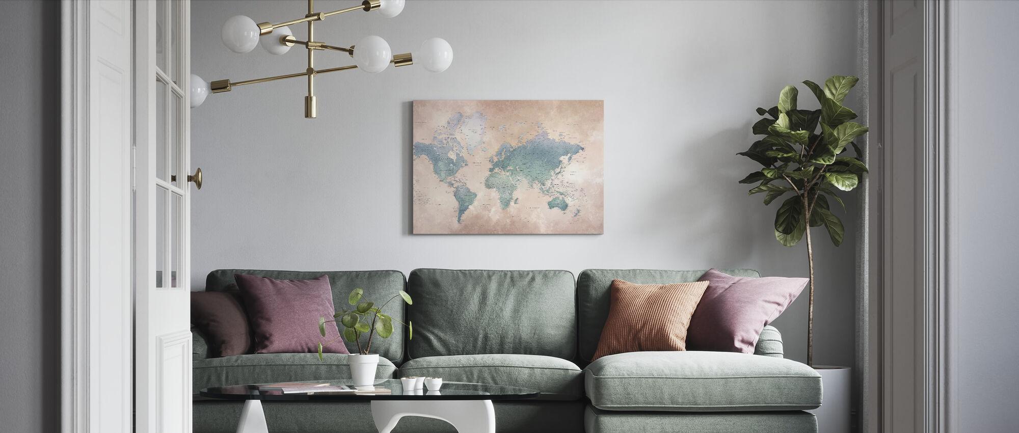 World Map - Ash-Blue - Canvas print - Living Room