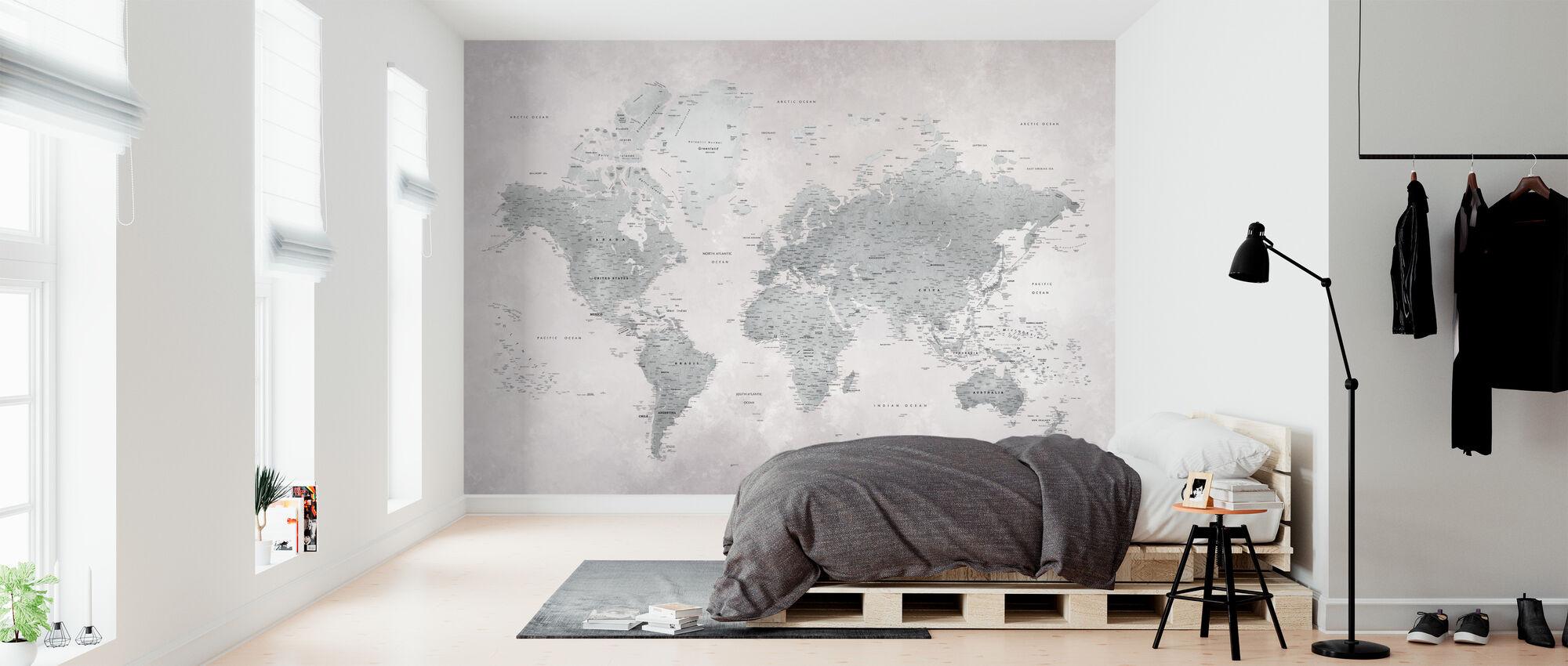 World Map - Ash-Green - Wallpaper - Bedroom