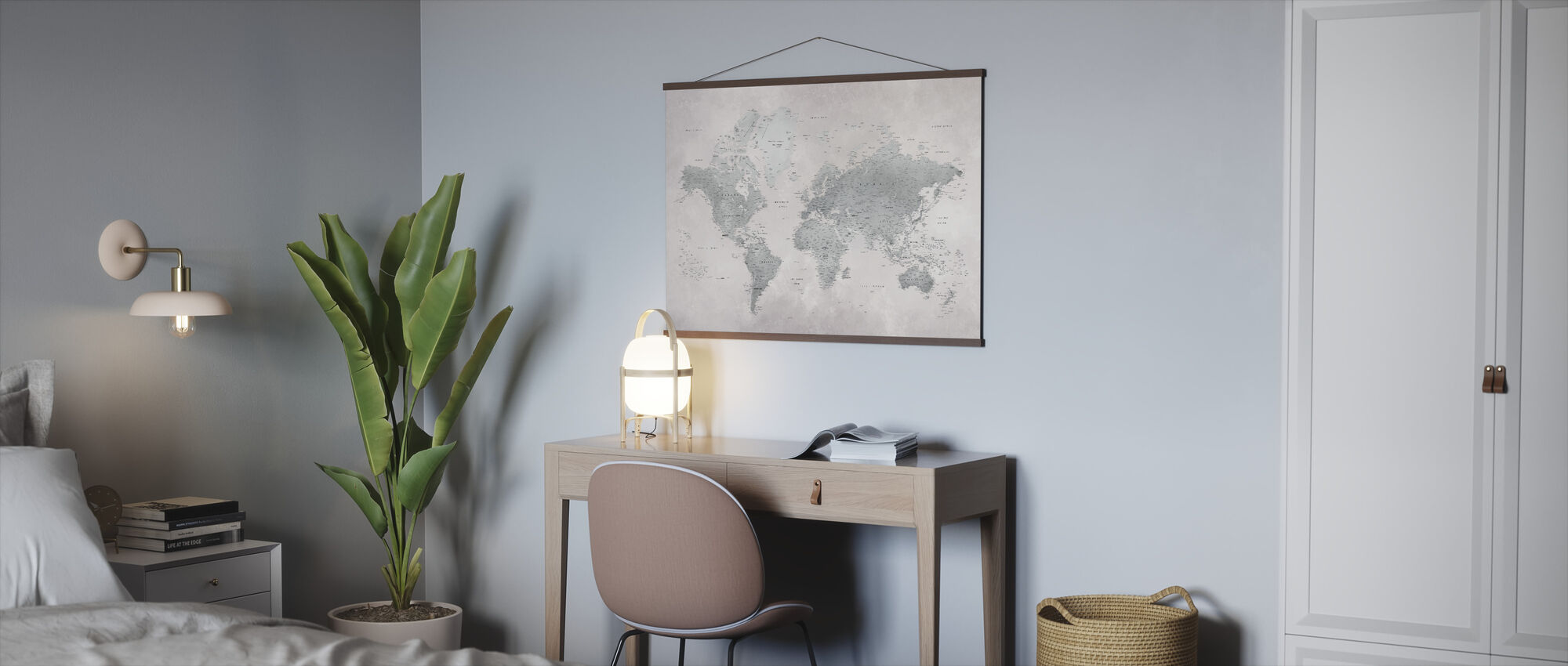 World Map - Ash-Green - Poster - Office