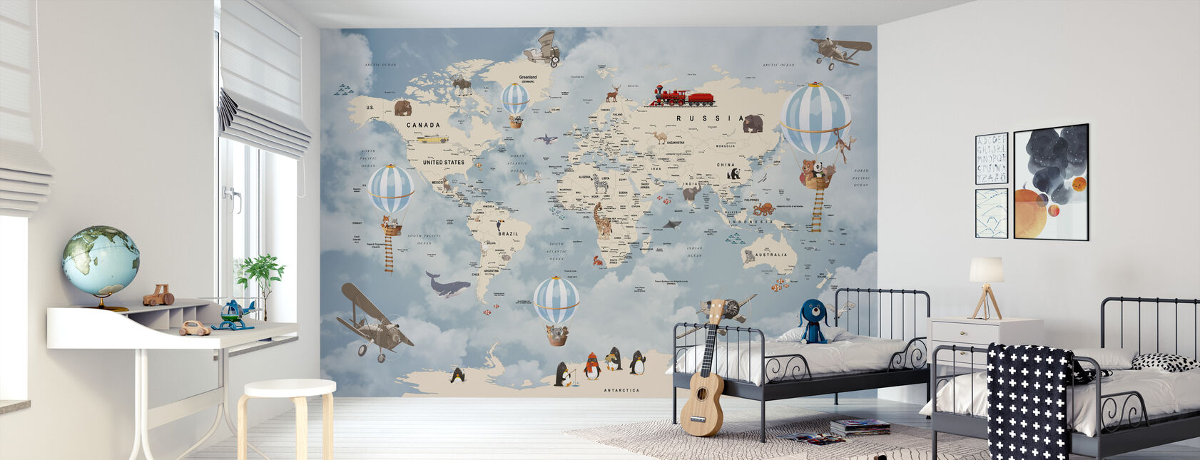 Animals Home Map - Wallpaper - Kids Room