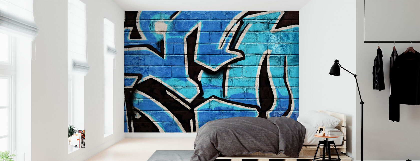 Graffiti Brick Wall - Blue - Wallpaper - Bedroom