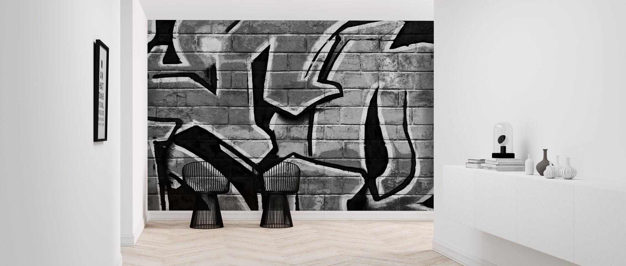 Graffiti murvegg - Bw - Tapet - Gang
