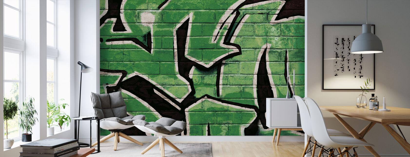 Graffiti bakstenen muur - groen - Behang - Woonkamer