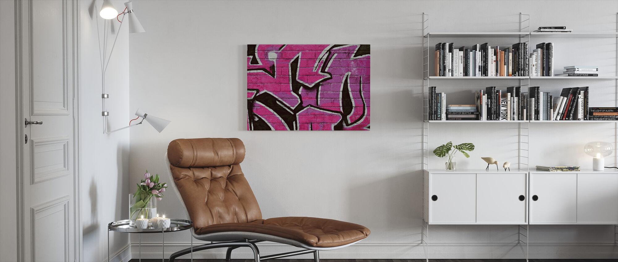 Graffiti Brick Wall - Pink - Canvas print - Living Room